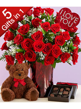 Vazoda 25 Kırmızı Gül Çikolata ve Ayıcık