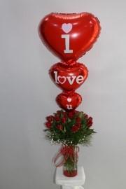 21 Gül Uçan Balon Aşk