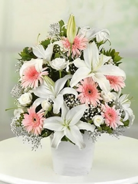 Çiçek Aranjman Pembe Beyaz