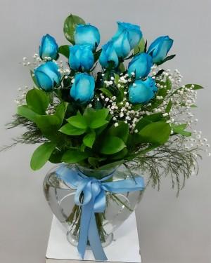 Kalp Vazoda Mavi Güller 11 Adet