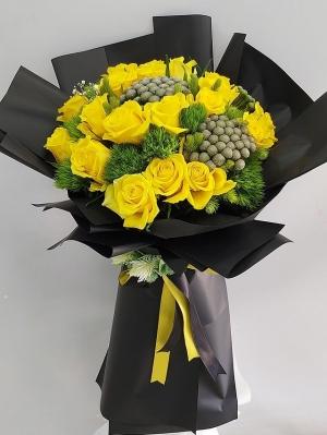 İthal VIP Sarı Gül Buketi