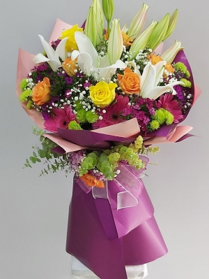 Sarı Mor Çiçek Buketi